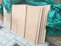 6 mdf sheets 1220cm x 2440cm, 18mm thick + 6 sheets 122cm x 75cm + 2 sheets 225cm x 20cm .