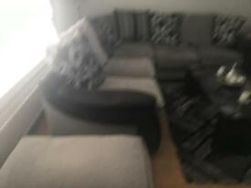Silver grey and black fabric corner suite cushion back and stool