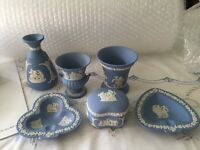 Collection of blue Wedgewood