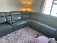 Large corner recliner grey leather sofa with electric points