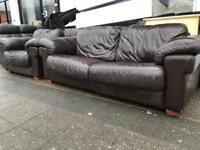 REAL LEATHER SOFA SET USED VERY COMFY FREE DELIVERY LOCAL