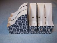 Ikea blue & white magazine files x6
