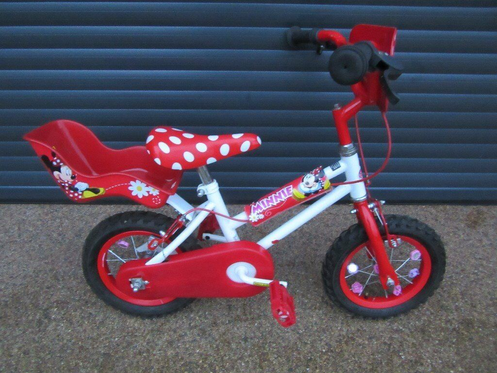 GIRLS MINNIE STARTER BIKE IN SUPERB LITTLE USED CONDITION. (IDEAL PRESENT). SUIT APPROX. AGE. 3+