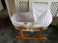 White moses basket and rocking stand