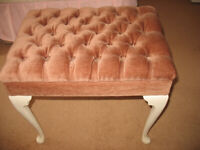 Dressing table foot piano stool, antique white wooden legs, pink rose gold coloured seat, vintage