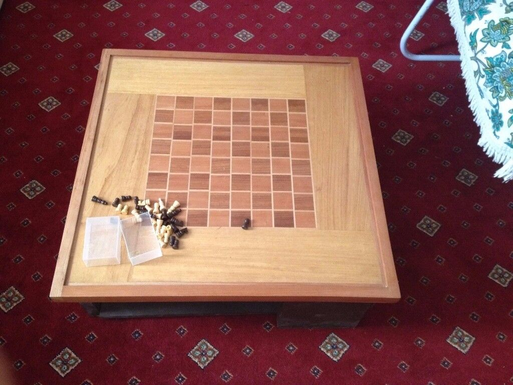 Wooden Coffee / Chess Table with Storage for Books, Bags, Laptops, decoration etc.,