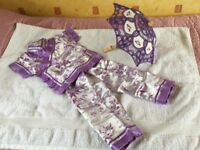 Purple Chinese Outfit for 2yr old or less with decorative umbrella
