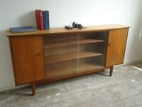 Vintage Retro Mid Century Danish Style Teak Slim Sideboard Display Storage Unit