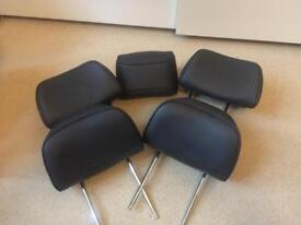 Set of 5 black leather headrest Peugeot 607