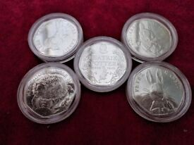 FIVE BEATRIX POTTER 50 PENCE - INCLUDED THE TALE OF PETER RABBIT - ALL ENCAPSULATED - UNCIRCULATED
