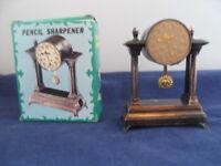 ANTIQUE FINISH CLOCK PENCIL SHARPENER NO 8754 NEW IN BOX