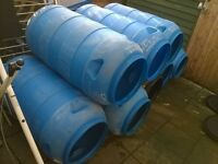 water butts or drums or barrels