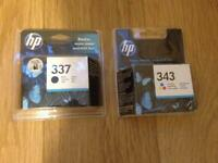 NEW HP Ink Cartridges: Black 337 & Tri-colour 343