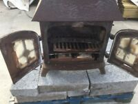 Reclaimed YEOMAN heavy cast iron wood burner