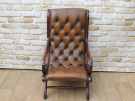 Antique Brown Slipper Chesterfield Chair x 5 available (Delivery possible)