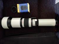 Opteka 650-1300mm HD (2X Adaptor 1300-2600mm) Telephoto Zoom Lens ~ Canon & Nikon T2 Adaptors