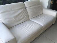 Natuzzi 3 seater cream leather reclining sofa