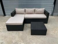 FREE DELIVERY BLACK GARDEN RATTAN CORNER SOFA & TABLE GREAT CONDITION