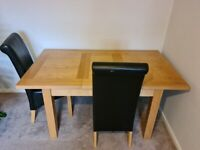 Extendable Wooden Table + 3 Chairs (Excellent Condition, Easy to Transport)