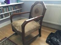 Antique hand woven back arm chair