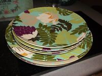 Picnic ware, 4 large melamine plates and four side plates, lovely pattern, never used, vgc.