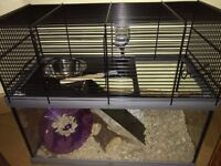 nearly new glass and wire hamster cage
