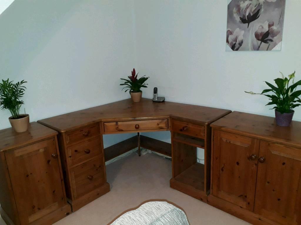 Corner desk and cupboards in solid antique pine - Corner Desk And Cupboards In Solid Antique Pine In Ivybridge