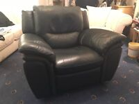 Blue leather rocking armchair with recliner