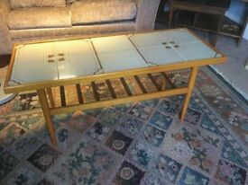 Retro / Vintage Tiled Teak Coffee Table with Shelf H18cm/46cmD16.5cm/42cmL40cm/102cm