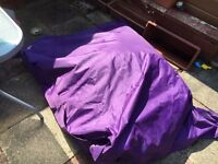 Bargain giant purple bean bag with durable weatherproof cover
