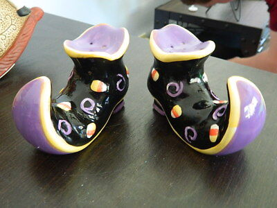 Halloween Black Purple Witch Boots With Candy Corn Salt & Pepper - Halloween Boots Purple