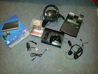 PS3 Bundle: Lamborghini sterring wheel, games and headset!!!