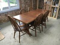 Oak veneer table and chairs