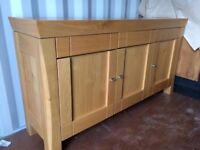 HOUSING UNITS SOLID OAK SIDE TABLE. IMMACULATE CONDITION