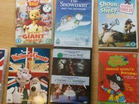 Kids' dvds incl Wallace and Gromit, The snowman, Horrid Henry, Rupert the Bear