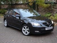 EXCELLENT SPEC!!! (56 REG) MAZDA 3 2.0 SPORT 5DR, 6 SPEED, BLACK WITH FULL RED LEATHER, XENON