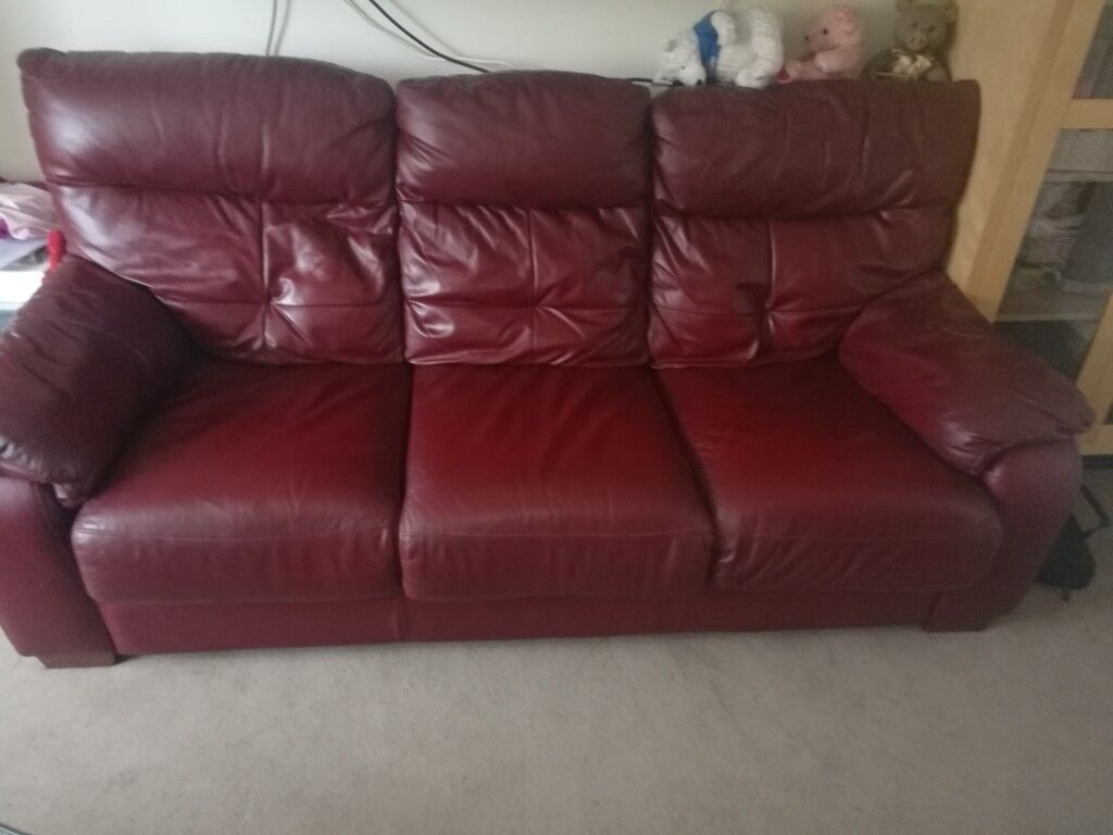 Harvey S Cherry Red Leather Sofa Bed