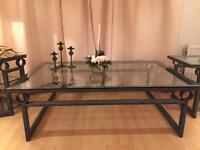 Glass top, steel framed set of 3 tables