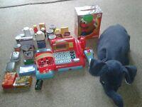 childrens cash register, mr potato head, and pillow pet bundle