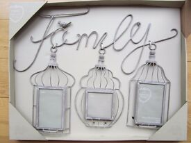 NEXT VINTAGE 'FAMILY' COLLAGE FRAME ~ BIRDCAGE DESIGN ~ 2 X 6X4 & 1 X 4X4 PHOTO ~ NEW £10