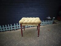 BEAUTIFUL DRESSING TABLE STOOL WITH A SOLID WOOD FRAME AND MUSTARD COLOUR VELVET FABRIC