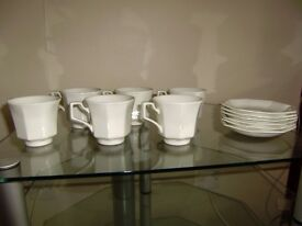 Cups and sources, 2 lovely sets in excellent condition and Glassware