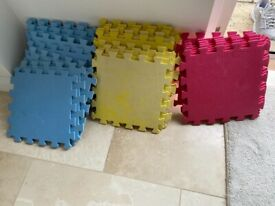 Interlocking Soft Foam Floor Tiles - 24 - red, yellow and blue - 12 inch/30 cm square