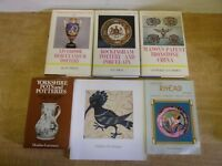 SELECTION OF 11 ANTIQUE & COLLECTABLE POTTERY BOOKS -LOWESTOFT, ROCKINGHAM, ETC