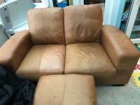 Leather 2 seater sofa and footstool