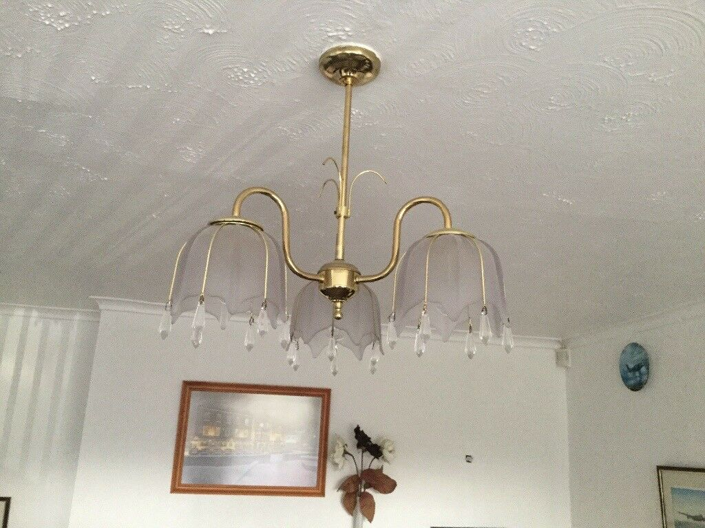 3 light ceiling fitting with frosted glass and polished brass