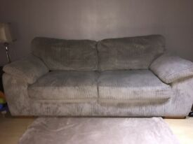 3 Seater sofa light grey cord