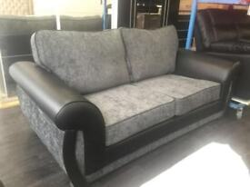 3 + 2 Brand New, Unused Fabric Sofa With Leather Arm Rests