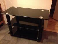 TV stand, black glass