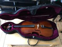 Used, 1/2 sized cello in good playing condition (some marks) with bow and hard carry case with wheels for sale  Barnton, Edinburgh
